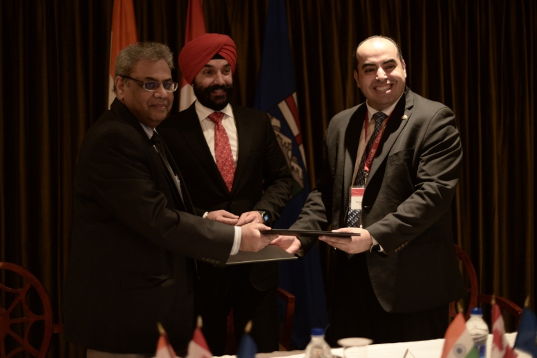 Mr Sarvesh, Navdeep Bains, Minister of Innovation, Science and Economic Development, Government of Canada and Dr. Elhabiby